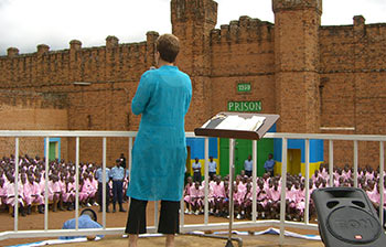 Joyce speaking at a prison in Rwanda in 2006.
